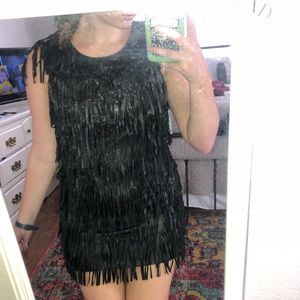 Black leather fringe dress